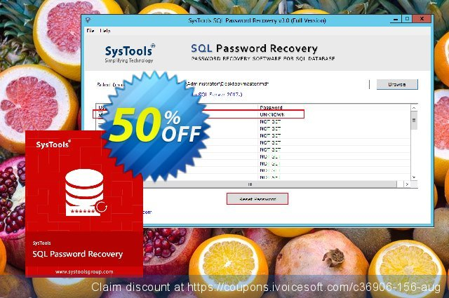 SysTools  SQL Password Recovery - Business License discount 50% OFF, 2021 Mother Day promo. SysTools Summer Sale
