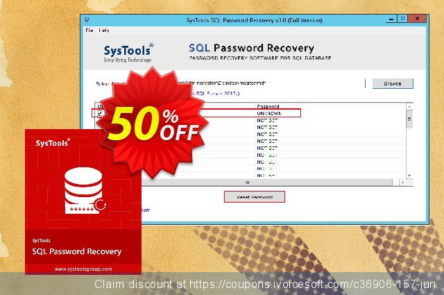 SysTools  SQL Password Recovery - Enterprise License  신기한   가격을 제시하다  스크린 샷