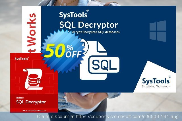 SysTools SQL Decryptor discount 50% OFF, 2021 Happy New Year offering sales