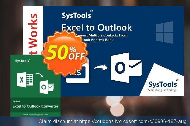 SysTools Excel to Outlook (Business) discount 30% OFF, 2020 College Student deals offering sales