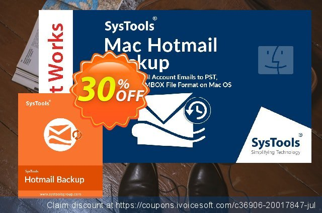 SysTools Mac Hotmail Backup discount 30% OFF, 2021 Spring sales