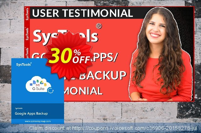 SysTools Google Apps Backup discount 30% OFF, 2020 Back to School offer offering sales