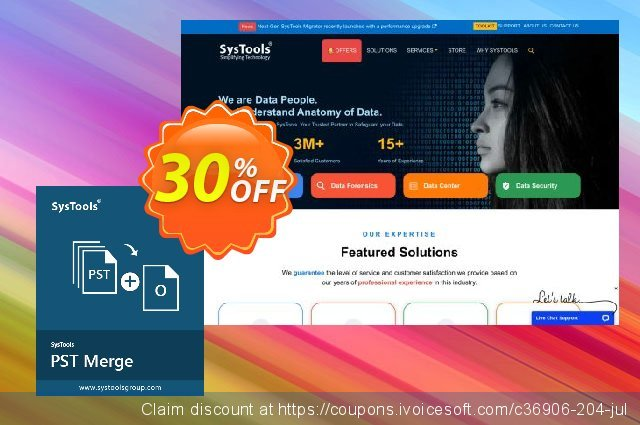 Special offer - SysTools PST Merge 大的 折扣 软件截图