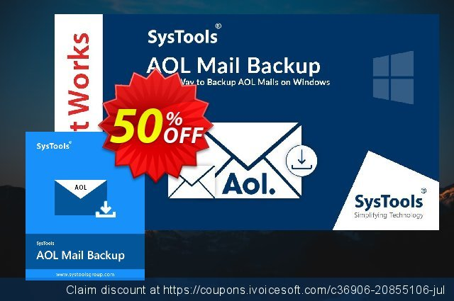 SysTools AOL Backup - Single User discount 30% OFF, 2020 Exclusive Teacher discount offering sales