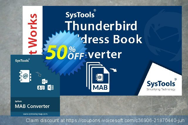 SysTools Thunderbird Address Book Converter discount 30% OFF, 2020 College Student deals offering deals