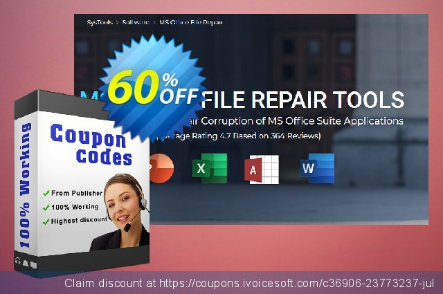 SysTools MS Office Repair Toolkit discount 60% OFF, 2020 Back to School deals offering sales