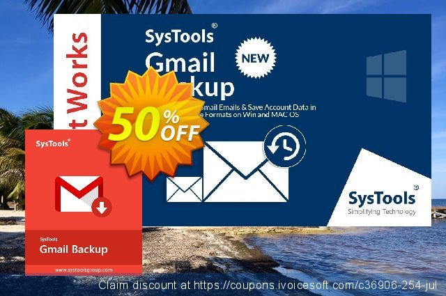SysTools GMail Backup discount 26% OFF, 2019 Back to School event offering sales