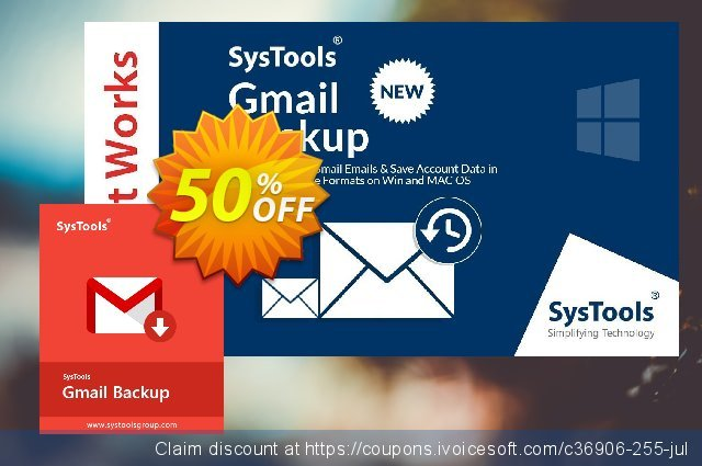 SysTools GMail Backup (10 Users) discount 20% OFF, 2020 American Independence Day offering sales