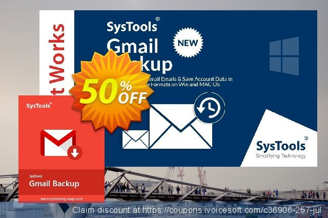 SysTools GMail Backup (50 Users) discount 30% OFF, 2020 Halloween sales