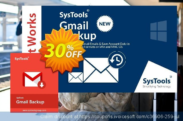 SysTools GMail Backup (100+ Users) discount 30% OFF, 2020 Back to School coupons deals