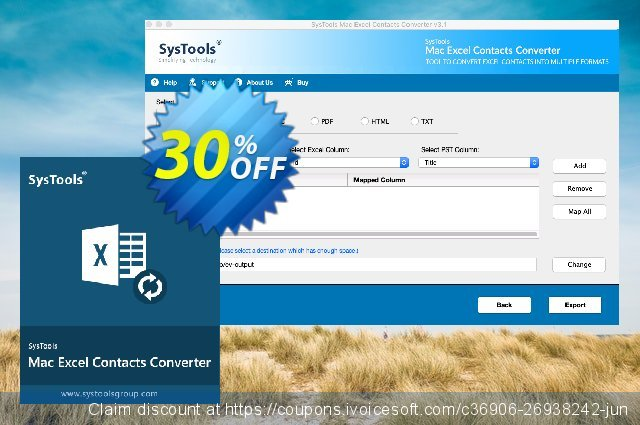 SysTools Excel Contacts Converter (Mac) discount 30% OFF, 2020 Teacher deals offering sales