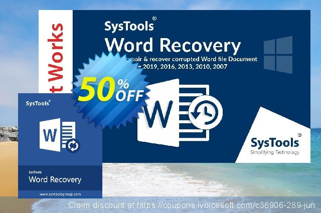 SysTools Word Repair discount 20% OFF, 2020 Halloween offering sales