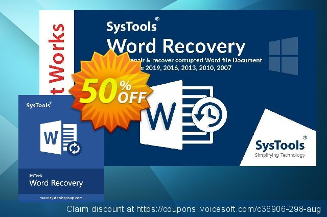 SysTools Word Repair (Enterprise) discount 30% OFF, 2020 Back to School deals offer