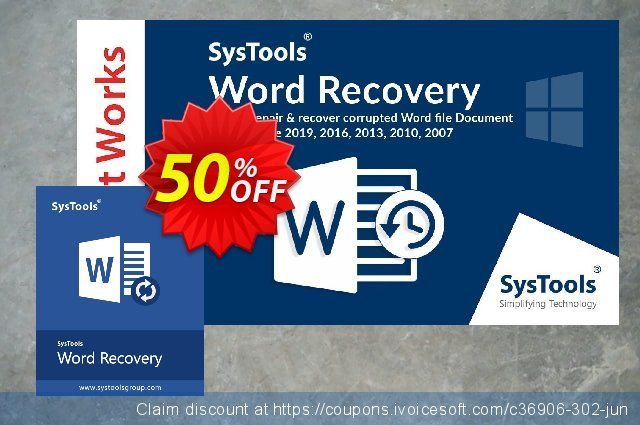 SysTools DOCX Repair discount 64% OFF, 2019 Halloween promo sales