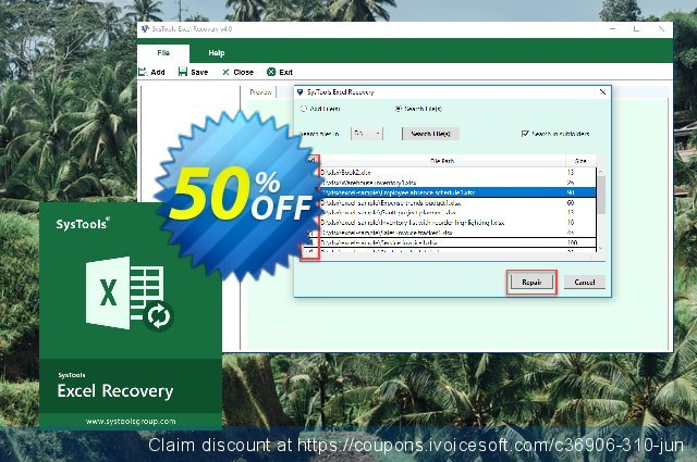 SysTools Excel Recovery (Enterprise License)  최고의   할인  스크린 샷