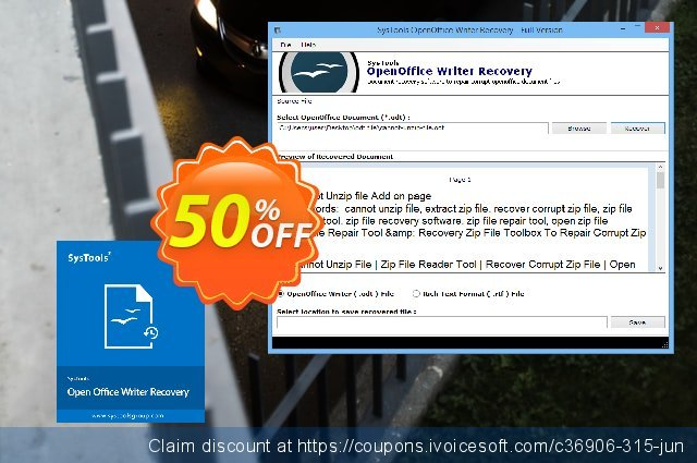 SysTools OpenOffice Writer Recovery (Business) 超级的 扣头 软件截图