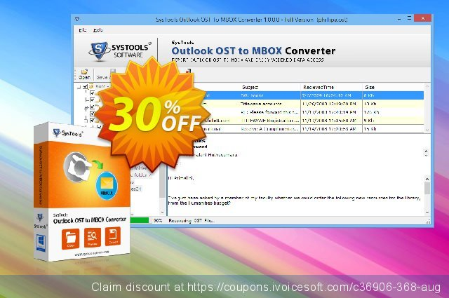 SysTools Outlook OST to MBOX Converter discount 20% OFF, 2020 Summer offering sales