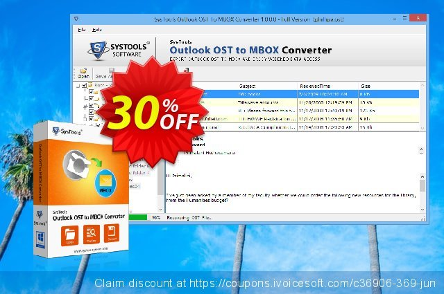 Outlook OST to MBOX Converter - Business License 可怕的 优惠 软件截图