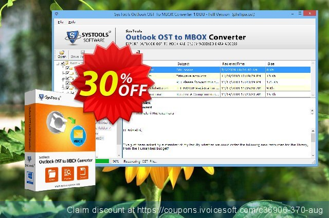 Outlook OST to MBOX Converter - Enterprise License  최고의   제공  스크린 샷