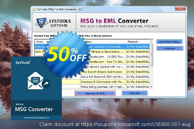 SysTools MSG to EML Converter (Business License)  굉장한   세일  스크린 샷