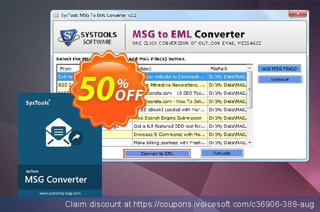 SysTools MSG to EML Converter (Enterprise License) 令人敬畏的 产品销售 软件截图