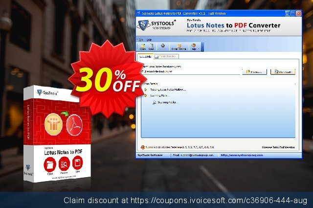 SysTools Lotus Notes to PDF Converter (Business) 大的 优惠码 软件截图