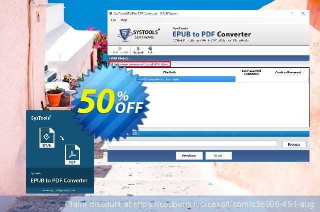 SysTools EPUB to PDF Converter (Business)  특별한   제공  스크린 샷