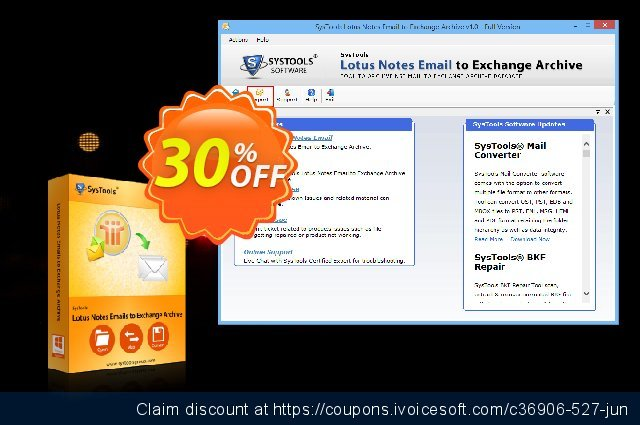 SysTools Lotus Notes Emails to Exchange Archive discount 20% OFF, 2020 Spring offering sales