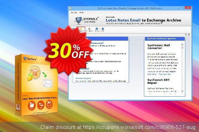 SysTools Lotus Notes Emails to Exchange Archive  특별한   세일  스크린 샷