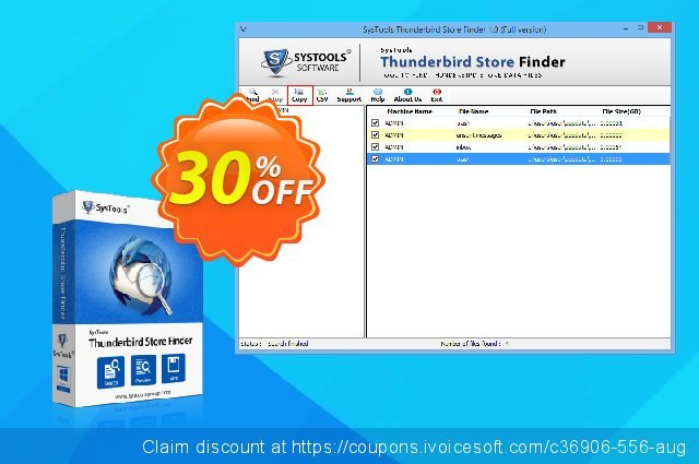 SysTools Thunderbird Store Finder (Business) discount 20% OFF, 2020 Fourth of July offering sales