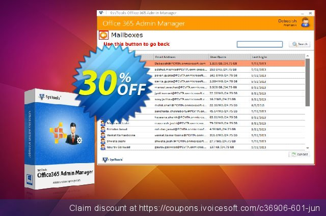 SysTools Office365 Admin Manager discount 20% OFF, 2020 Fourth of July promotions