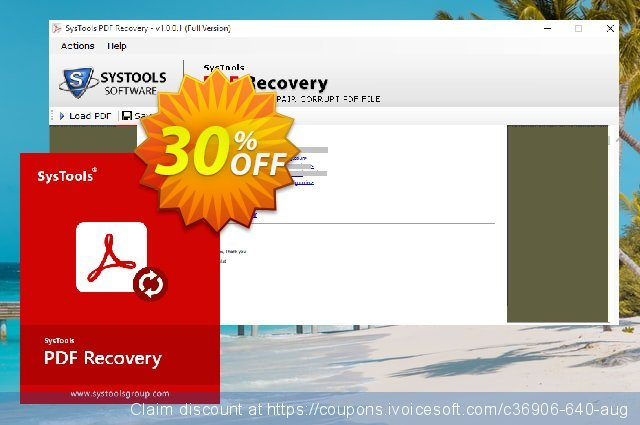 SysTools PDF Recovery discount 30% OFF, 2019 Student deals offer