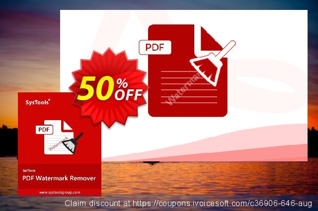 SysTools PDF Watermark Remover discount 50% OFF, 2020 Teacher deals promo sales