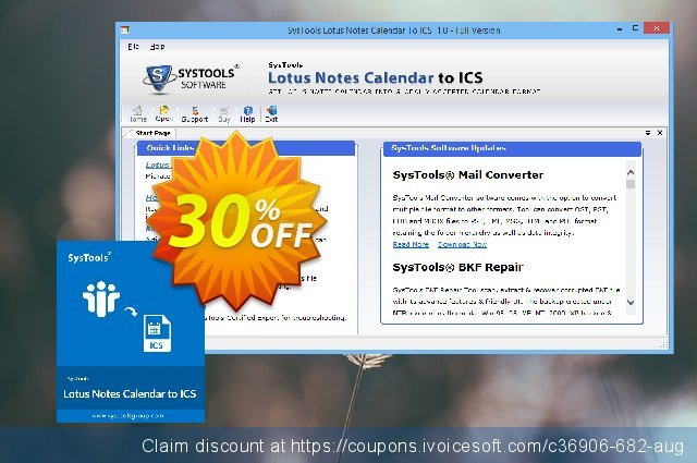 SysTools Lotus Notes Calendars to iCalendar .ICS (Enterprise) discount 20% OFF, 2020 4th of July offering discount
