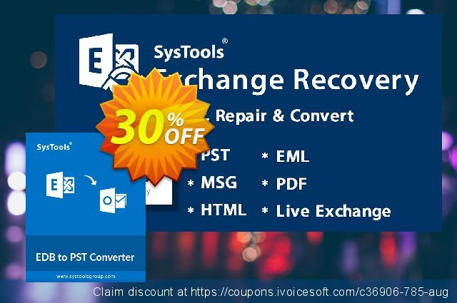 SysTools EDB to PST Converter (Enterprise) 惊人的 产品销售 软件截图