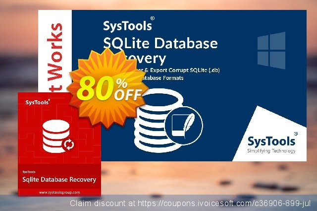 SysTools SQLite Database Recovery discount 20% OFF, 2020 July 4th offering sales