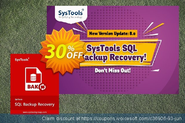Systools SQL Backup Recovery (Business License) discount 20% OFF, 2020 New Year's Weekend promotions