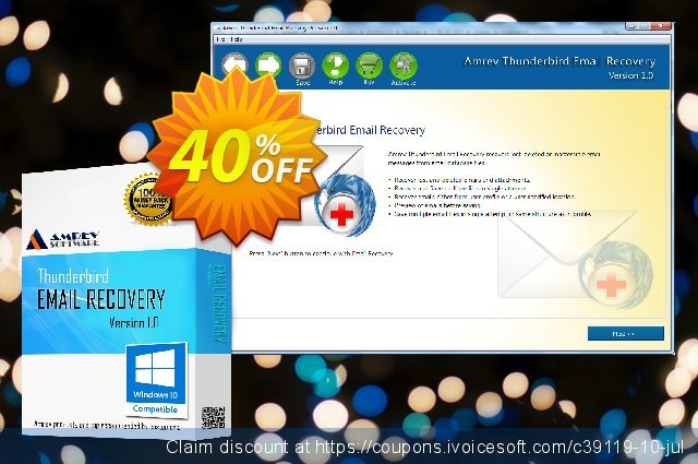 Amrev Thunderbird Email Recovery discount 40% OFF, 2020 American Independence Day offering sales