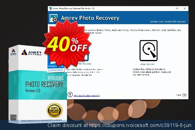 Amrev Photo Recovery Software discount 40% OFF, 2020 Summer offering sales