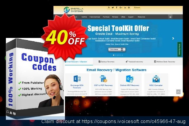 Enstella Email Recovery Toolkit discount 40% OFF, 2020 New Year's eve offering deals