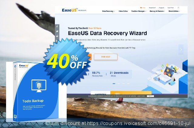 EaseUS Todo Backup Advanced Server discount 20% OFF, 2019 Summer offering sales