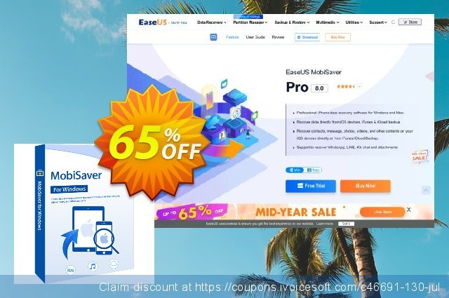 EaseUS MobiSaver Pro (Lifetime) discount 65% OFF, 2021 Happy New Year offering sales