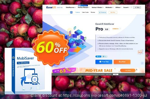 EaseUS MobiSaver Pro (Monthly) discount 50% OFF, 2021 New Year's Day discounts