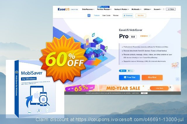 EaseUS MobiSaver Pro (1 year) discount 50% OFF, 2021 New Year's Weekend promo