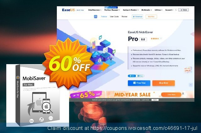 EaseUS MobiSaver for Mac discount 40% OFF, 2019 January discounts