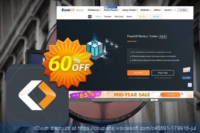 EaseUS Backup Center Server discount 40% OFF, 2020 New Year's eve promo