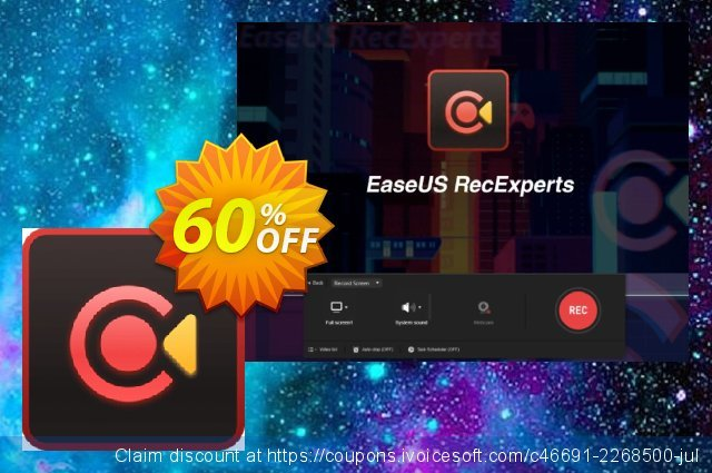 EaseUS RecExperts (1 month) discount 40% OFF, 2020 Year-End offering sales