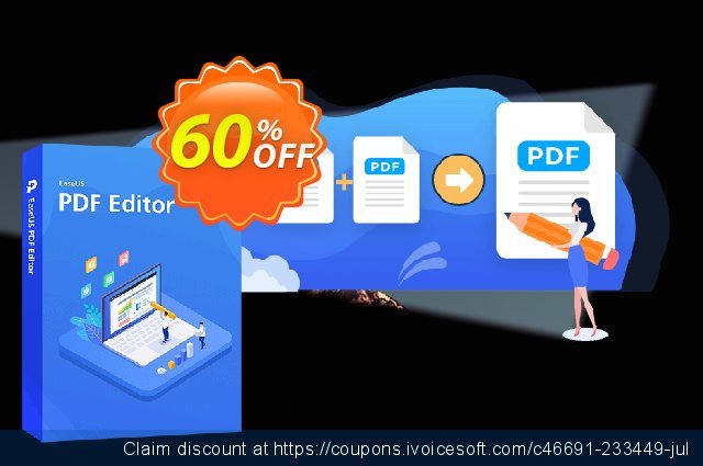 EaseUS PDF Editor discount 60% OFF, 2021 Selfie Day offering sales. 50% OFF EaseUS PDF Editor, verified