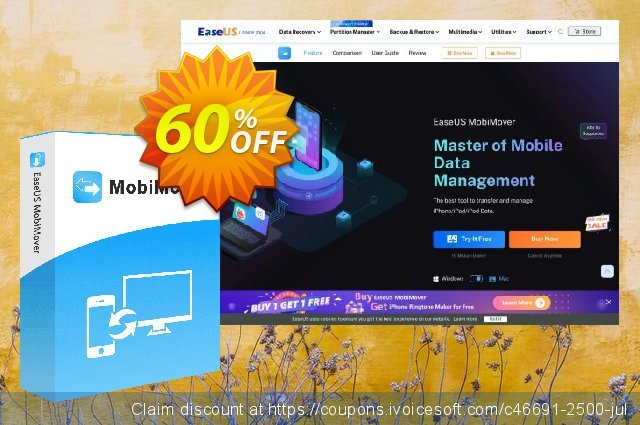 EaseUS MobiMover Pro for Mac (1 month) discount 55% OFF, 2021 Valentine's Day offer