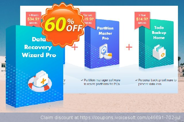Bundle: EaseUS Data Recovery Wizard Pro + Todo Backup Home + Partition Master Pro Lifetime Upgrades discount 50% OFF, 2021 New Year promotions